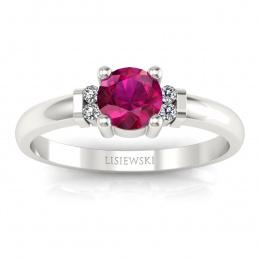 Pierścionek zaręczynowy białe złoto rubin brylant - P15213br