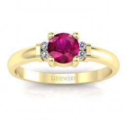 Pierścionek zaręczynowy żółte złoto rubin brylanty - P15213zr