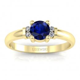 Pierścionek z szafirem diamenty żółte złoto - P15213zsz