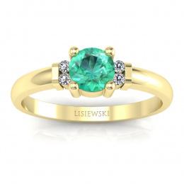 Pierścionek zaręczynowy szmaragd diamenty żółte złoto - P15213zszm