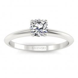 Pierścionek zaręczynowy z brylantem białe złoto - p16365b