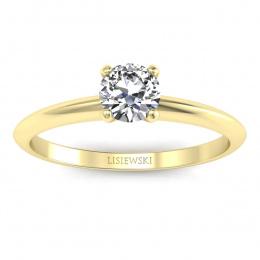 Zaręczynowy pierścionek z żółtego złota z brylantem - p16365z