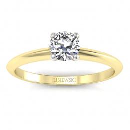 Pierścionek zaręczynowy z brylantem dwukolorowe złoto - p16365zb