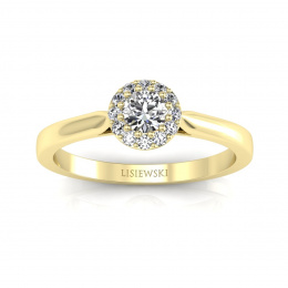 Pierścionek z żółtego złota z brylantami - p16370z