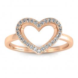 Pierścionek zaręczynowy różowe złoto 585- P15352c