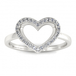 Pierścionek zaręczynowy z brylantami, białe złoto 585 - P15352b