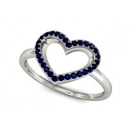 Pierścionek zaręczynowy z szafirami białe złoto - P15352bsz