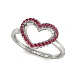 Pierścionek zaręczynowy z rubinem białe złoto 585 - P15352br
