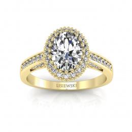Pierścionek z żółtego złota z diamentami. - p16595z