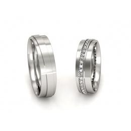 Ślubne obrączki platyna z brylantami - P55180T185pt