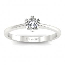 Pierścionek z białego złota z brylantem. - p16781b