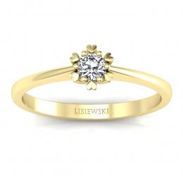 Pierścionek zaręczynowy z brylantem żółte złoto- p16781z