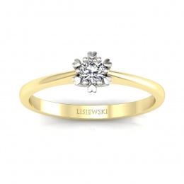 Pierścionek z żółtego i białego złota z brylantem - p16781zb