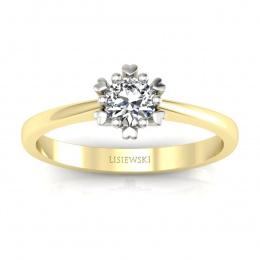 Złoty pierścionek zaręczynowy z brylantem - p16782zb