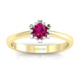 Złoty pierścionek z rubinem - p16782zbr