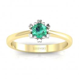 Złoty pierścionek zaręczynowy ze szmaragdem - p16782zbsm