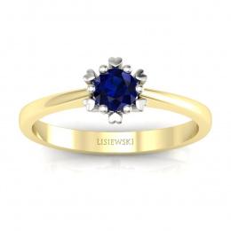 Złoty pierścionek z szafirem - p16782zbsz