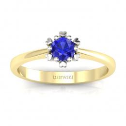 Złoty pierścionek z szafirem cejlońskim - p16782zbszc