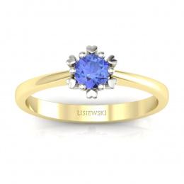 Złoty pierścionek z tanzanitem - p16782zbt