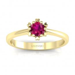 Złoty pierścionek z rubinem - p16782zr