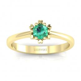 Złoty pierścionek zaręczynowy ze szmaragdem - p16782zsm