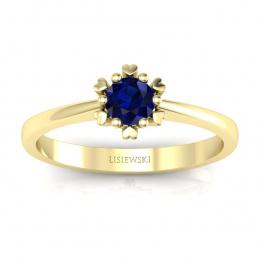 Złoty pierścionek zaręczynowy z szafirem - p16782zsz