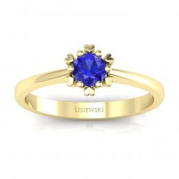 Złoty pierścionek z szafirem cejlońskim  - p16782zszc