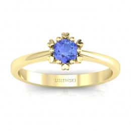 Złoty pierścionek z tanzanitem - p16782zt