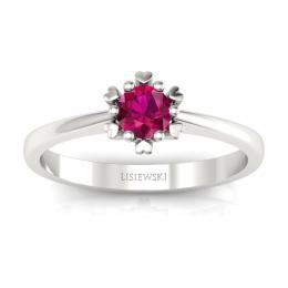 Złoty pierścionek z rubinem - p16782br