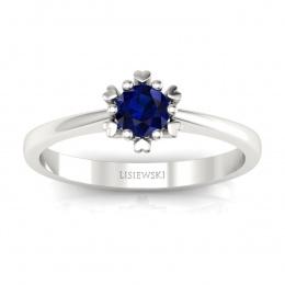 Złoty pierścionek z szafirem - p16782bsz