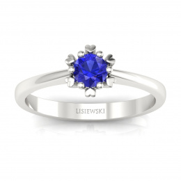 Złoty pierścionek z szafirem cejlońskim - p16782bszc