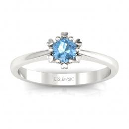 Złoty pierścionek zaręczynowy z topazem - p16782btp