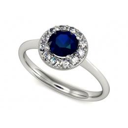 Platyna pierścionek z szafirem i brylantami - P16188ptsz
