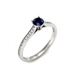 Platyna pierścionek z szafirem i brylantami - P16432ptsz