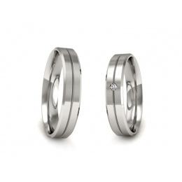 Ślubne platynowe obrączki z brylantem - p40120T182pt