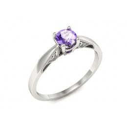 Platyna pierścionek z tanzanitem i brylantami - p16435ptt