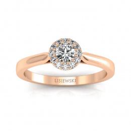 Pierścionek zaręczynowy z różowego złota z brylantami - p16370c