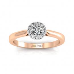 Pierścionek z różowego i białe złoto z brylantami - p16370cb