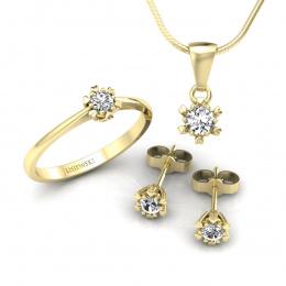 Komplet złotej biżuterii z brylantami - kpl16781z