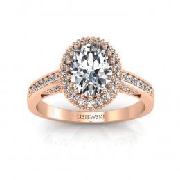 Pierścionek z różowego złota z diamentami. - p16595bc