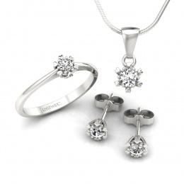 Komplet złotej biżuterii z brylantami - kpl16781b