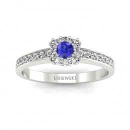 Złoty pierścionek z szafirem cejlońskim i brylantami - p16028bszc