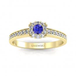 Złoty pierścionek z szafirem cejlońskim i brylantami - p16028zszc
