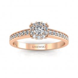 Pierścionek zaręczynowy różowe złoto z brylantami - p16028c