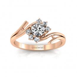 Pierścionek zaręczynowy z różowego złota z brylantami - P15244c