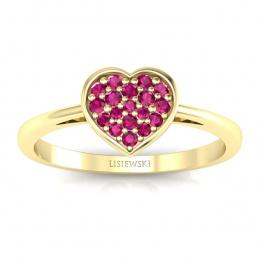Pierścionek z żółtego złota z rubinami - p16018zr