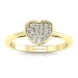 Pierścionek serce z diamentami żółte złoto - p16018z
