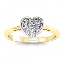 Złoty pierścionek z diamentami - p16018zb