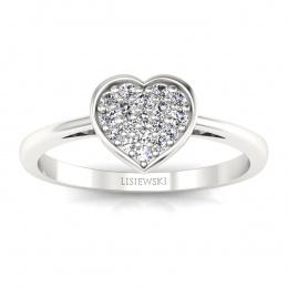 Złoty pierścionek z diamentami - p16018b