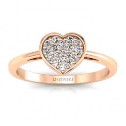 Pierścionek zaręczynowy  z diamentami różowe złoto - p16018c